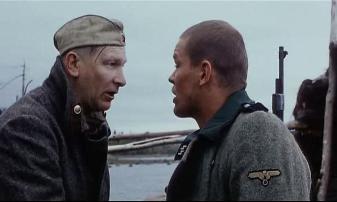 Ivan (left) wears a Soviet uniform, while Veikko (right) wears a German one (The Cuckoo)